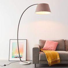 Elegante lampada ad arco con piedistallo, 1,9 x 1,2 m, 1 attacco da E27, massimo 60 Watt in cemento, metallo e tessuto, colori: taupe: Amazon.it: Illuminazione