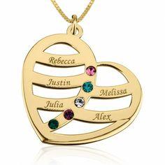 Collar Corazón de Madre con Cinco Nombres y Swarovski Natal en plata chapada en Oro de 24K