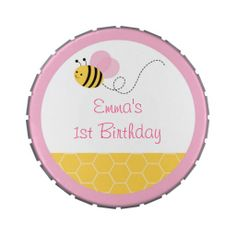 Pink Bumble Bee Personalized Candy Tin