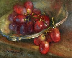 Red Grapes on Ornate Silver Dish 8 10 in. Original Oil on canvas, painting by artist Hall Groat II
