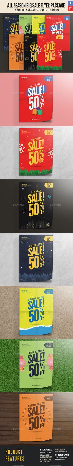 All Season Big Sale Flyer package Template PSD, Vetor AI Illustrator #design Download: http://graphicriver.net/item/all-season-big-sale-flyer-package/14138516?ref=ksioks