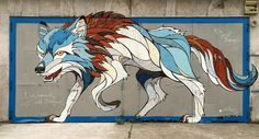 These colorful geometric murals were done by Matt W. Moore, an amazing graffiti artist who can blend shapes, colors and street art all in one. Check out this post for some really awesome graffiti murals all over the globe. Murals Street Art, Graffiti Murals, Mural Art, Doodles Zentangles, Wolf Images, Urbane Kunst, Paper Animals, Wall Drawing, Andreas