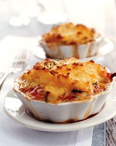 Transform shepherd's pie into an elegant dish fit for company by substituting lobster for the traditional ground beef or lamb. The individual mashed potato-topped pies can be baked in fluted ramekins, shallow ovenproof casseroles, or even Pyrex bowls. Fish Dishes, Seafood Dishes, Fish And Seafood, Seafood Pot Pie, Lobster Dishes, Seafood Pasta, Lobster Recipes, Seafood Recipes, Shellfish Recipes