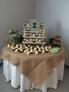 Deer woodland baby shower cake table!