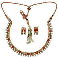 Maayra Plush Red White Kundan Choker Set with Earrings #onlineshopping http://goo.gl/6D4gUs
