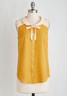 Fashionably Elate Top in Goldenrod. Your smile will look all the brighter after you button into this yellow-and-peach dotted tank! #yellow #modcloth