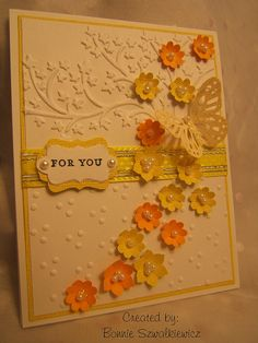 For You...Judy or Nancy need your embossing machine :) cascad flower, flower card, vintage card butterflies, pretti card, flowers butterflie, beauti card