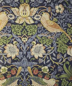 Strawberry Thief Wallpaper A charming floral wallpaper featuring thrushes amongst stylised strawberry plants on an indigo background.