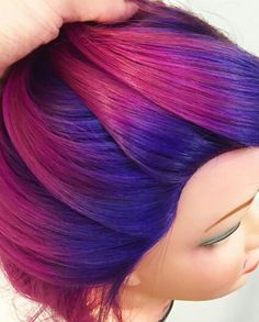 Purple pink ombre dyed hair @aleksey_hair