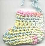 Quick Crochet Baby Booties! Made top row the reverse single & chain in contrasting color (with E hook) instead of ribbon.