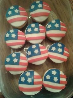 USA flag cupcakes.  Great for an Olympics party or the 4th of July !