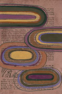 Graphic Circles  Wine Tinted Original Abstract Painting on by kipi, $60.00