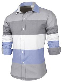 Button Up Contrast Color Striped Shirt