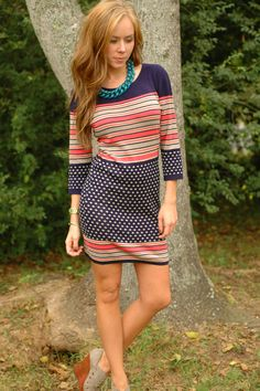 Dot Your i's Sweater Dress, $74.99