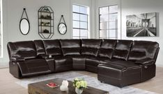"""CM6229DK 7 pc Darby home co Alayna dark brown leatherette sectional sofa with power recliners ends and chaise. This set includes the power motion recliner ends, 2 - drink consoles, 2 - armless chairs and corner wedge, features USB power plugs. Sectional measures 125"""" x 125"""" x 38"""" x 42 1/2"""" H. Some assembly required."""