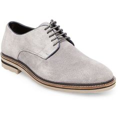 Steve Madden Horten Suede Dress Shoes ($100) ❤ liked on Polyvore featuring men's fashion, men's shoes, men's dress shoes, grey suede, mens gray dress shoes, mens grey shoes, mens suede lace up shoes, mens gray suede shoes and steve madden mens shoes
