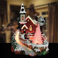 Avon Christmas Fiber Optic Village To Buy Pinterest