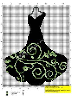 passionbroderie77 - point de croix robe noire et verte - cross stitch black and green dress