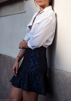 Style a fancy skirt with a button up shirt for work  fashforfashion -♛ STYLE INSPIRATIONS♛