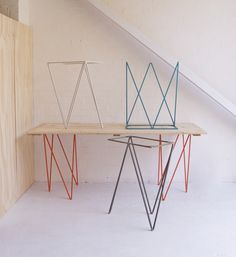 Image of Zigzag trestle legs in lacquered steel