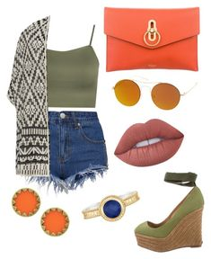 """""""Untitled #36"""" by kacenka12 on Polyvore featuring Mulberry, SW Global, WearAll, Joie, Christian Louboutin, House of Harlow 1960, Anna Beck, Lime Crime, orangeoutfit and popsoforange"""
