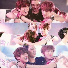 Baekhyun Kai Sehun EXO-K hugging at SMTown ending <3