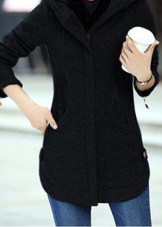 Curved Zipper Up Hooded Collar Black Coat on sale only US$49.98 now, buy cheap Curved Zipper Up Hooded Collar Black Coat at liligal.com