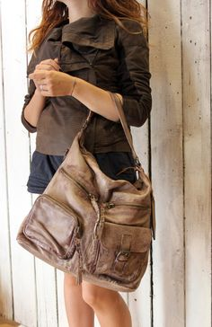 DUBLE BAG -Handmade Italian Brown Leather  TOTE|Bag di LaSellerieLimited su Etsy