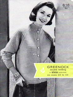 """ladies cardigan knitting pattern pdf download vintage 50s womens high neck cardigan button up jacket 34-44"""" DK light worsted 8 ply by Hobohooks on Etsy"""