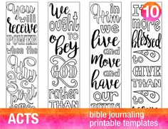 ACTS - 4 Bible journaling printable templates, illustrated christian faith bookmarks, black and white bible verse prayer journal stickers