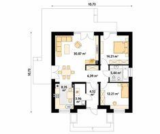 Projekt domu Elka 2 - rzut parteru House Layout Plans, House Layouts, House Plans, Design Case, Floor Plans, Cottage, House Design, How To Plan, Cottage House Plans