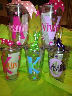 Personalized Tumblers .w/Straw BPA Free Wedding, Bridal, Bacherlorette, Birthday