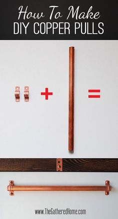 the gathered home how to make a diy ikea hack desk with plank top u0026 copper pulls copper pipe and hardware for about 15 dollars to make towel rack for