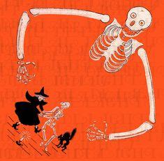 Vintage Halloween Images, Halloween Pictures, Vintage Santas, Vintage Holiday, Ribbon Cards, Paper Illustration, Halloween Celebration, Halloween Skeletons, Crepe Paper