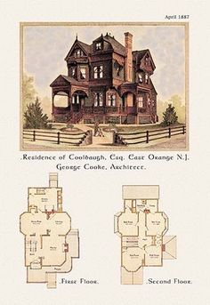 Residence of F W Coolbaugh, Esquire is part of Victorian home Blueprints - American Architecture of the Victorian Period with an illustration of the home's exterior and a two floor architectural plan and layout