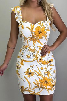 Hualong Sexy Sleeveless Floral Bodycon Dress - Online Store for Women Sexy Dresses Party Dresses For Women, Sexy Dresses, Casual Dresses, Fashion Dresses, Summer Dresses, Mini Dresses, Summer Clothes, Short Dresses, Vacation Dresses