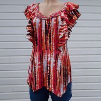 pre owned item in good condition polyester, cap sleeve underarm to underarm is 20 inch length varies. smoke and pet free