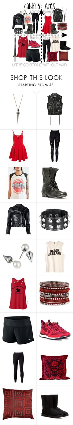 """Cabin 5: Ares"" by aquatic-angel ❤ liked on Polyvore featuring Bee Goddess, Yves Saint Laurent, WithChic, Junk Food Clothing, Steve Madden, R13, Majorica, H&M, NIKE and Jockey"
