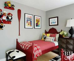 This little-boy bedroom mixes classic touches with playful accessories. The family of bears on the wall pays homage to stuffed animals of yesteryear—as do vintage circus posters. Modern accents, like the cow-print stool, are just plain fun.