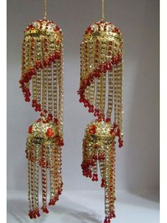 Gold & Red Bridal Spiral Kalira / Kaleera