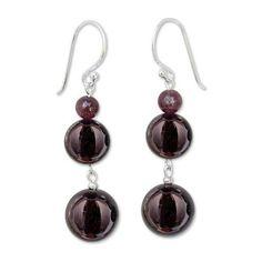 NOVICA Beaded Garnet Earrings (7.080 HUF) ❤ liked on Polyvore featuring jewelry, earrings, dangle, garnet, beading jewelry, beading earrings, beaded earrings, garnet earrings and garnet jewelry