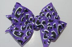Cheetah hair bow purple ribbon clip cheerleading bows toddler hair accessories girls fancy ribbon custom hair bow school baby childrens bow