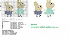Rosie and Robbie Peppa Pig characters cross stitch pattern 29x23