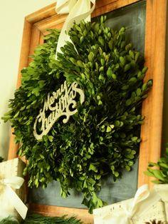 Miss Mustard Seed HGTV Christmas tutorials - boxwood wreath & The Night Before Christmas, Christmas And New Year, All Things Christmas, Winter Christmas, Christmas Wreaths, Christmas Crafts, Christmas Decorations, Xmas, Christmas Ideas