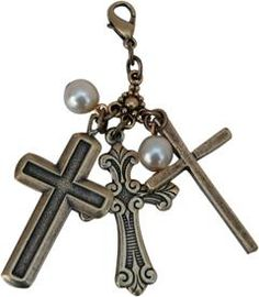 Brass Ox Charm with Three Crosses and Pearls