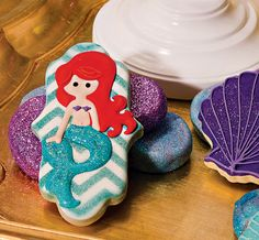 Sparkly Little Mermaid Under the Sea Birthday Party hostess with the mostess Brownie Cookies, No Bake Sugar Cookies, Cute Cookies, Cupcake Cookies, Little Mermaid Birthday, Little Mermaid Parties, Mermaid Under The Sea, The Little Mermaid, Cake Centerpieces
