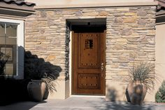 db-a1202-ft Aurora fiberglass doors are made to look and feel like solid wood, without any of the maintenance. Craftsman style door shown is displayed with two full glass sidelights, and decorative glass.