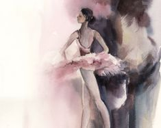 Acuarela original pintura de bailarina arte acuarela