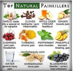 Natural painkillers. Garlic, cloves, apple cider vinegar, ginger, cherries, turmeric, peppermint, pineapple, water, horseradish, blueberries