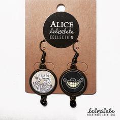 Cheshire Cat Earrings - Alice in Wonderland - Orecchini in metallo bronzato Alice in di LeleleleCreations